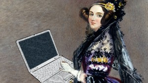 Ada Lovelace with a laptop