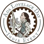 Cartoon of Ada Lovelace examining loom punch cards; Includes the text Ada Lovelace Day Indie Event