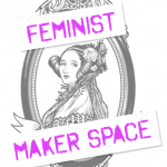 Line drawing of an Ada Lovelace Portrait, framed by soldering irons