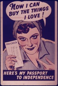 "Image of a woman holding a paycheck, exclaiming ""now I am free to buy the things I love"""