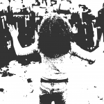 Stencil of a black woman stands in the foreground, back to the camera and hands up. She faces a line of police officers in riot gear