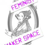 Feminist MakerSpace logo, with a woven textile added to Ada's hairpiece